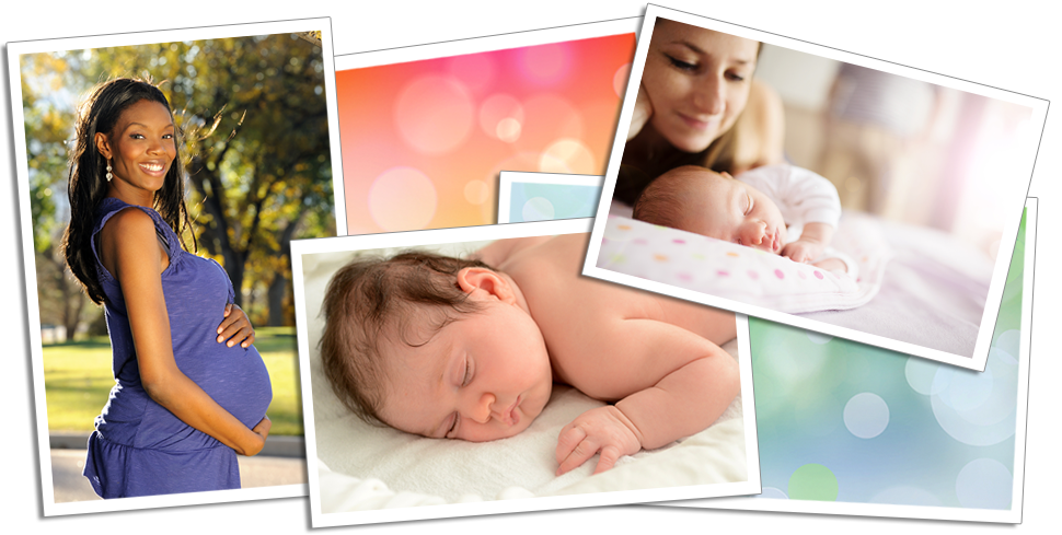 Pregnant woman, Mother and Baby, Sleeping baby collage